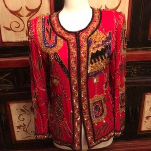 Laurence Kazar beaded/sequined blouse